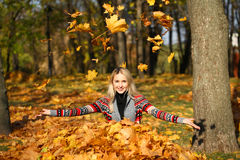 Happy woman drop up leaves in autumn park. Portrait close up of young beautiful woman, on background autumn park Stock Photos