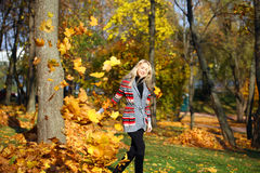 Happy woman drop up leaves in autumn park. Portrait close up of young beautiful woman, on background autumn park Royalty Free Stock Photo