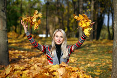 Happy woman drop up leaves in autumn park. Portrait close up of young beautiful woman, on background autumn park Stock Photo