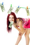 Happy woman dry cash Royalty Free Stock Images