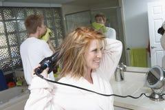 Happy Woman Drying Hair Stock Photos