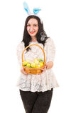Happy woman with Easter basket Stock Photos