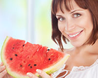 Happy woman eat watermelon Royalty Free Stock Photo