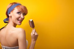 Happy woman eating Stock Image