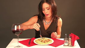 Happy woman eating  and drinking stock video footage