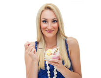 Happy woman eating ice cream Stock Image