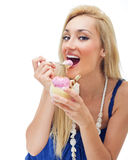 Happy woman eating ice cream Royalty Free Stock Photo