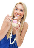 Happy woman eating ice cream Stock Photography
