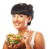 Happy woman eating salad Stock Image