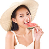 Happy woman eating watermelon Stock Photography