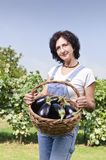 Happy woman with eggplant in basket Stock Image