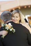 Happy Woman Embracing Man stock image