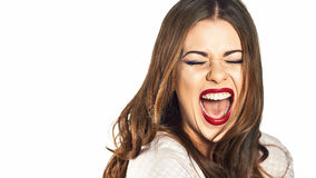 Happy woman emotional portrait. Stock Image