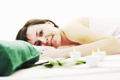 Happy woman enjoy back massage Stock Image