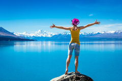 Happy Woman enjoy hiking Royalty Free Stock Images