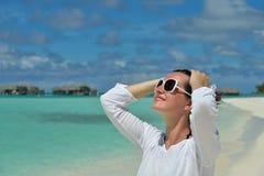 Happy woman enjoy summer time stock image