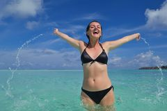 Happy woman enjoy  summer time Royalty Free Stock Photos