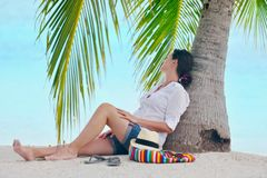 Happy woman enjoy summer vacation Royalty Free Stock Photography