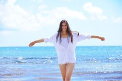 Happy woman enjoy summer vacation Stock Images