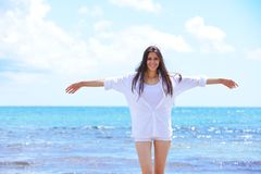 Happy woman enjoy summer vacation Royalty Free Stock Image