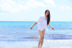 Happy woman enjoy summer vacation Royalty Free Stock Images