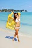 Happy woman enjoying at the beach, summer vacations concept Royalty Free Stock Photo