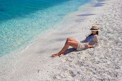 Happy woman enjoying beach tropical vacation Royalty Free Stock Photography