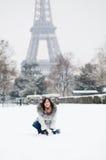 Happy woman enjoying beautiful snowy day Stock Photography