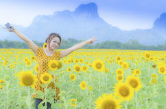 Happy woman enjoying Royalty Free Stock Images