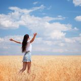 Happy woman enjoying the life in the field Nature beauty, blue sky and field with golden wheat. Outdoor lifestyle. Freedom concept stock images