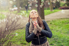 Happy woman enjoying life. Happy and satisfied young woman enjoying life Royalty Free Stock Photos