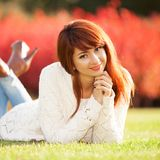 Happy woman enjoying the life in the spring park. Nature beauty Royalty Free Stock Image