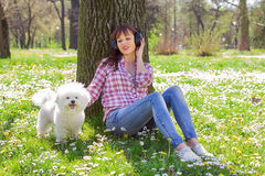 Happy Woman Enjoying Nature With Her Dog Royalty Free Stock Photo