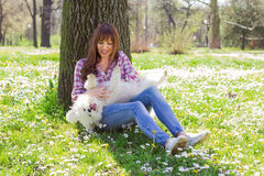 Happy Woman Enjoying Nature With Her Dog Stock Photography