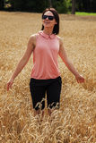 Happy woman enjoying a nice weather Royalty Free Stock Image