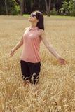 Happy woman enjoying a nice weather Stock Photo