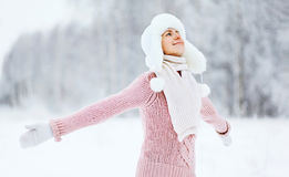 Happy woman enjoying snowy winter weather Stock Images