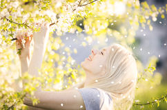 Happy woman enjoying spring, nature, falling petal. Happy young woman under a blooming tree is enjoying a petal rain. It's a sunny spring day - joy and happiness