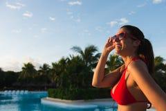 Happy woman enjoying summer vacation at caribbean resort Royalty Free Stock Photos