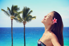 Happy Woman Enjoying Sunlight At Beach Royalty Free Stock Photography