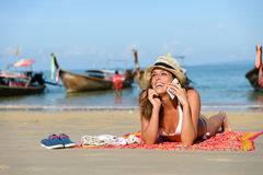 Happy woman enjoying Thailand beach vacation Royalty Free Stock Photography