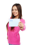 Happy woman with envelope Stock Image