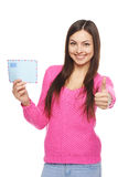 Happy woman with envelope Stock Images