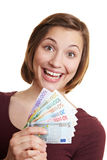 Happy woman with Euro money fan Stock Photography