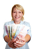 Happy woman with Euro mony bills Royalty Free Stock Photos
