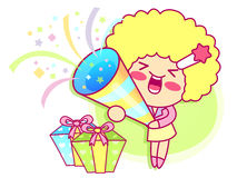The Happy Woman that Events Mascot. Style Girl Character Design Royalty Free Stock Photos
