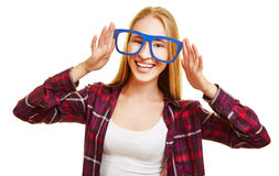 Happy woman with fake glasses Royalty Free Stock Images
