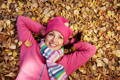 Happy woman in fall Stock Images