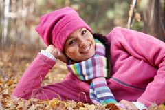 Happy woman in fall Royalty Free Stock Image