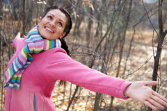 Happy woman in fall Royalty Free Stock Photography
